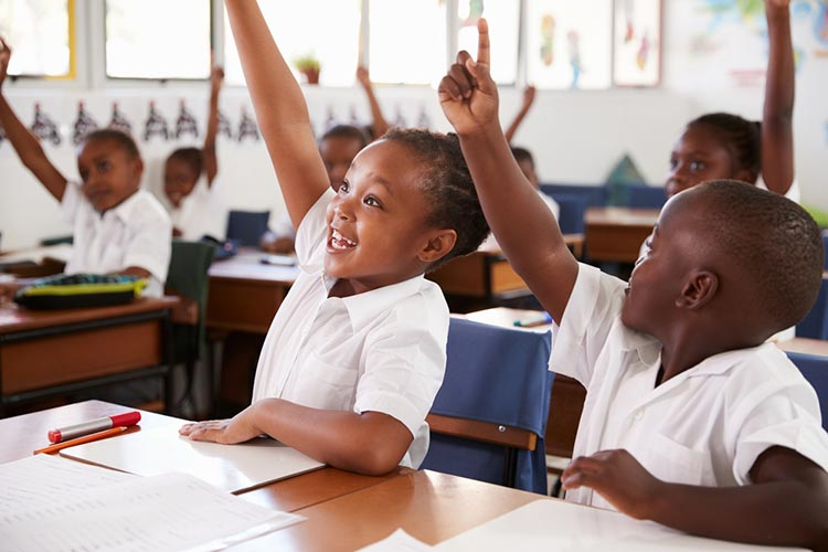 Kids raising hands during elementary school lesson at school