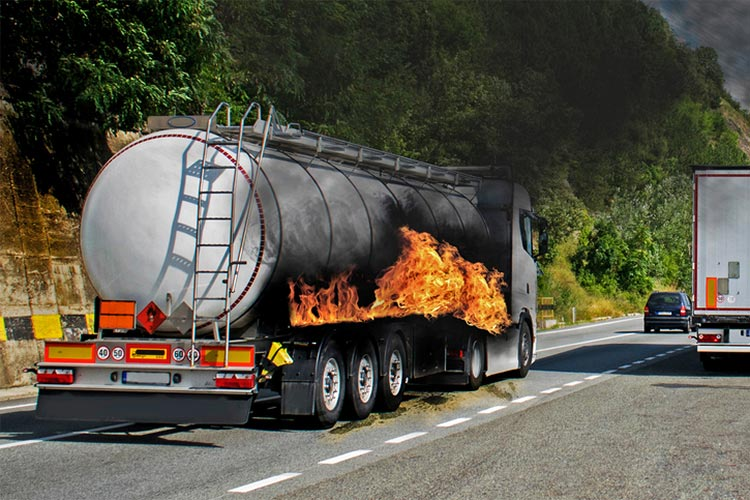 Petroleum track on fire with no insurance policy